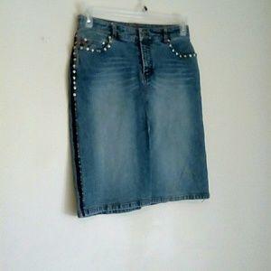 Parasuco Skirts - PARASUCO Denim Embroidered Studded Skirt, Size 8